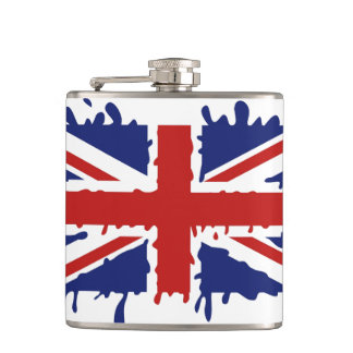 British paint splash flag hip flask