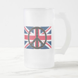 British Peace Skulls Frosted Glass Beer Mug