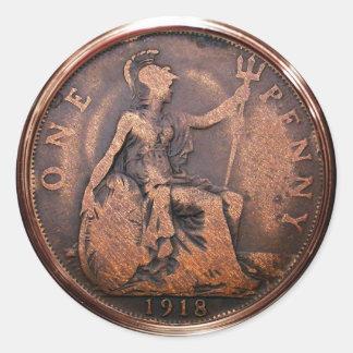 British Penny 1918 (pack of 6/20) Classic Round Sticker
