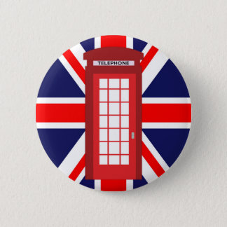 British phone box Union Jack flag 2 Inch Round Button