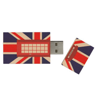 British phone box Union Jack flag Wood USB 2.0 Flash Drive