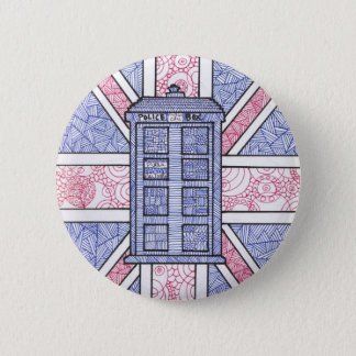British Police Box and Union Jack Flag Illustrated 2 Inch Round Button