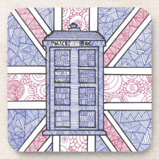 British Police Box and Union Jack Flag Illustrated Drink Coasters