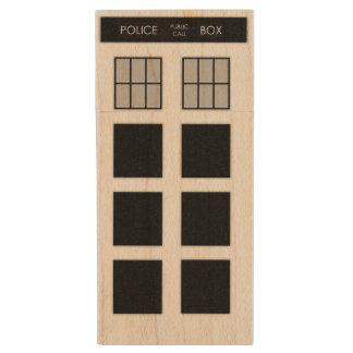 British Police Box Flashdrive (B&W) Wood USB 2.0 Flash Drive