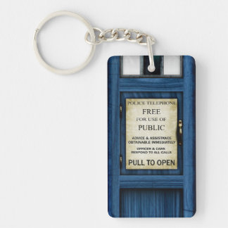 British Police Public Call Box Sign Keyfob Vers 2 Double-Sided Rectangular Acrylic Keychain