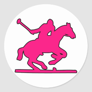 British Polo Sport Horse Player Silhouette Ponies Classic Round Sticker