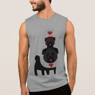 British Pugs Wearing Hat - Black pugs- Customize Sleeveless Shirt