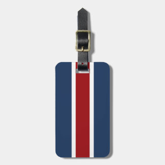 British Racing Stripe red White Blue Luggage Tag