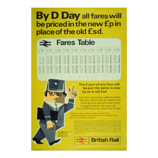 British Rail D-Day - Fares Table Poster