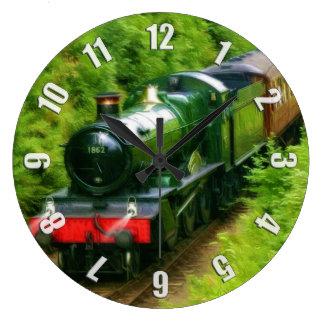 British Railway Steam Train Art V Large Clock