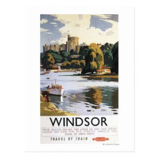 British Railways Windsor Castle Thames Poster Postcard