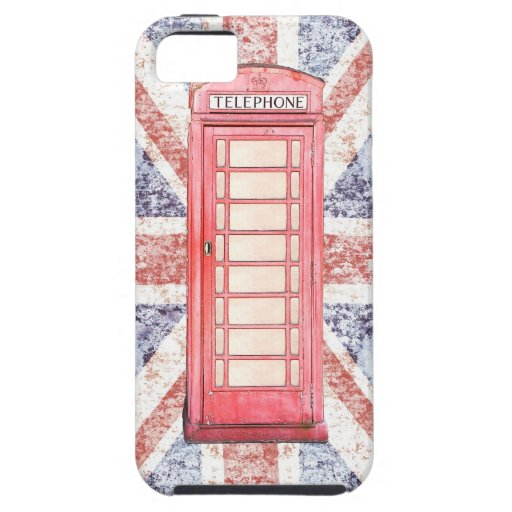 British red phone booth on Union Jack background iPhone 5 Covers
