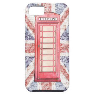 British red phone booth on Union Jack background iPhone 5 Cover