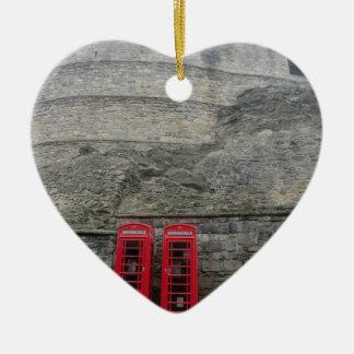 British Red Phone Boxes at Edinburgh Castle Ceramic Heart Ornament