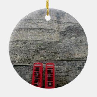 British Red Phone Boxes at Edinburgh Castle Round Ceramic Ornament