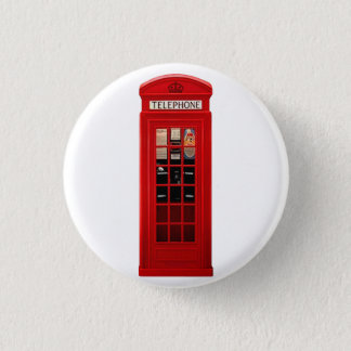 British Red Telephone Box 1 Inch Round Button