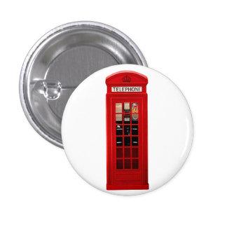 British Red Telephone Box 1 Inch Round Button