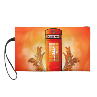 British red telephone box wristlet clutch