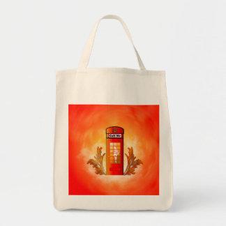 British red telephone box tote bag