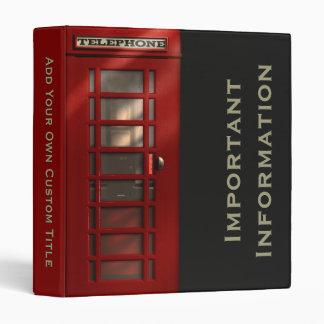 British Red Telephone Box Binders