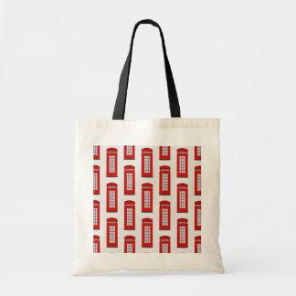 British Red Telephone Box Pattern Budget Tote Bag
