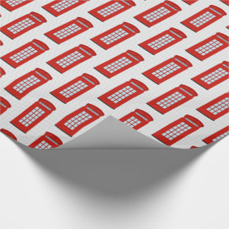 British Red Telephone Box Pattern Wrapping Paper