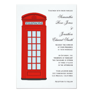 British Red Telephone Box Wedding Invitation