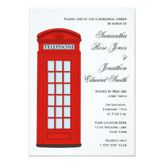 British Red Telephone Box Wedding Rehearsal Dinner Card