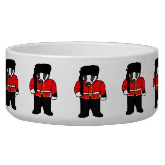 British Royal Guard Badger Cartoon Illustration Pet Water Bowl