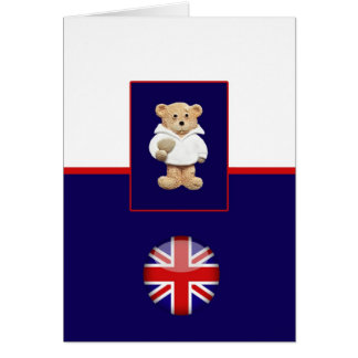British Rugby Teddy Bear Greeting Card