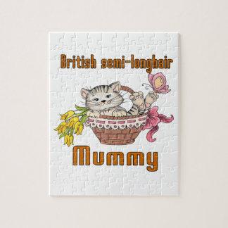 British semi-longhair Cat Mom Jigsaw Puzzle