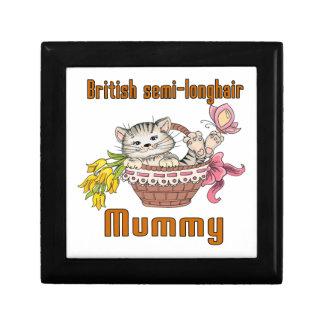 British semi-longhair Cat Mom Keepsake Boxes