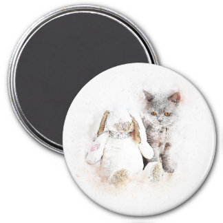 British Shorthair & Bunny | Abstract | Watercolor Magnet
