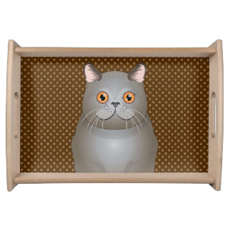 British Shorthair Cat Cartoon Paws Serving Tray