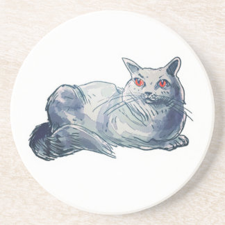 british shorthair cat cartoon style illustration coaster