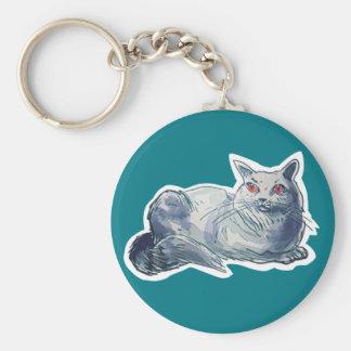 british shorthair cat cartoon style illustration keychain