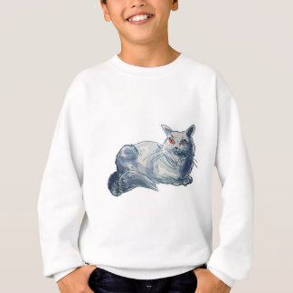 british shorthair cat cartoon style illustration sweatshirt