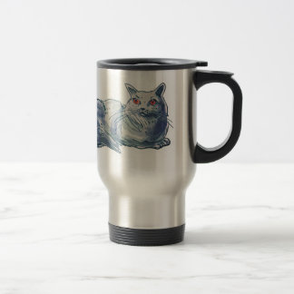 british shorthair cat cartoon style illustration travel mug