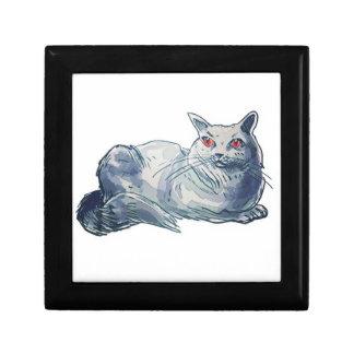 british shorthair cat cartoon style illustration trinket boxes
