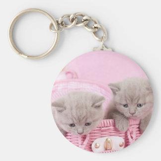British shorthair kittens basic round button keychain