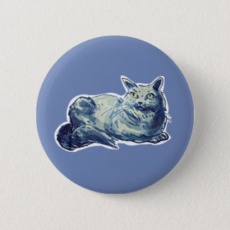 british shorthair sweet cat lady cartoon 2 inch round button