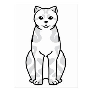 British Shorthair Tabby Cat Cartoon Postcard