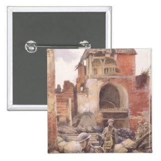 British Soldiers in the Ruins of Peronne, 1917 2 Inch Square Button