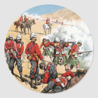 British soldiers of the 19th century round sticker