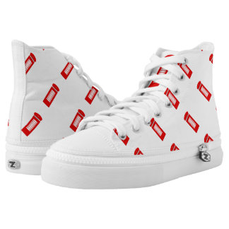 British Telephone Box Zipz High Top Shoes