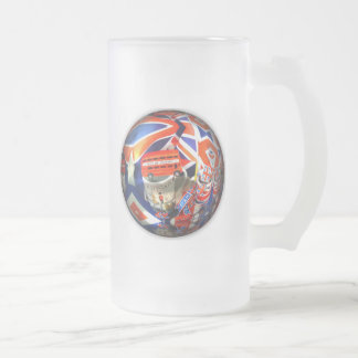 British Tourism Frosted Glass Beer Mug