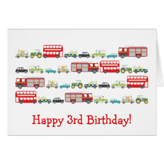 British Traffic Jam 3rd Birthday Card