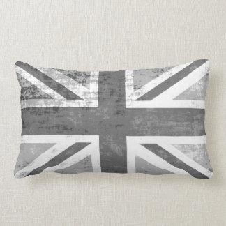 British UK Union Jack Flag in Grunge Grey Lumbar Pillow