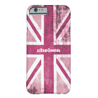 British UK Union Jack Flag in Grunge Pink Barely There iPhone 6 Case