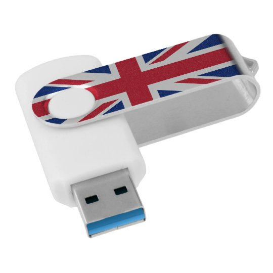 British UK United Kingdom Union Jack Flag Swivel USB 3.0 Flash Drive